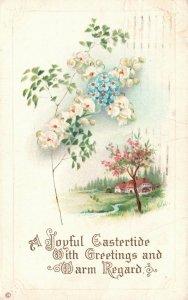 Joyful Eastertide, Cabin on Spring Field, 1914 Antique Vintage Postcard g8762