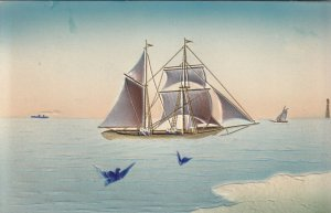 EMBOSSED, Sail Boat on the open water, Lighthouse, 1900-10s