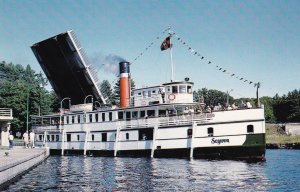 PORT CARLING , Ontario , Canada , 50-60s Steamer SEQWUN in Locks