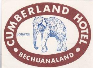 Bechuanaland Lobatsi Cumberland Hotel Elephant Luggage Label lbl0460