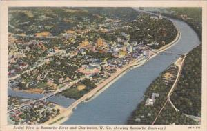 West Virginia Charleston Aerial Viewe Of Kanawha River And Charleston 1941