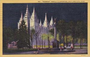 Utah Salt Lake City Mormon Temple Illuminated 1954