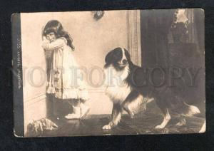 025383 COLLIE & Girl w/ DOLL Sign BARBER Vintage RUSSIAN PC