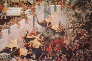 Thailand Mural Painting Of Ancient Warfare At Temple Of Dawn