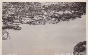 Wisconsin Rice Lake Air View 1951 Real Photo RPPC