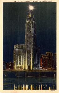 Ohio Columbus A I U Citadel At Night Curteich