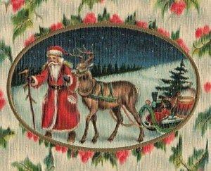 Santa Claus Walking Leading Reindeer Sleigh Germany Christmas c1910 P206