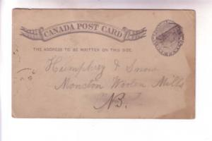 Victoria 1888 John Harvey Stanley NB to Humphrey and Sons Moncton, Canada Pos...