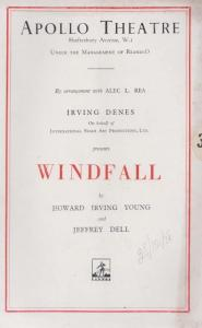Windfall Irving Denes Howard Young Drama Apollo London Theatre Programme