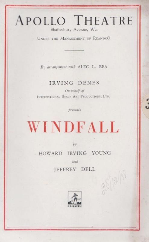 Windfall Irving Denes Howard Young Jeffrey Dell Apollo London Theatre Programme