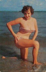 A Cool Dip Pin-Up Girl Bathing Suit Bikini Brunette c1950s Vintage Postcard