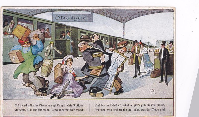 STUTTGART (Baden-Württemberg), Germany, PU-1929 ; Railroad Station comic