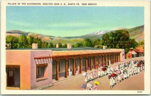 1940s Santa Fe, New Mexico Postcard Palace of the Governors Street View LINEN