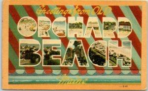 OLD ORCHARD BEACH Maine Large Letter Postcard DEXTER Linen #D-42 / 1961 Cancel