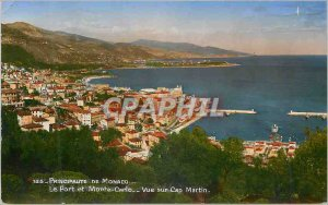 Old Postcard Principality of Monaco Port and Monte Carlo View Cap Martin