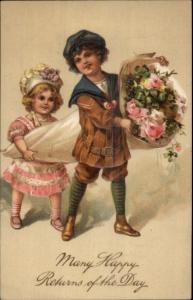Chil;dren w/ Flowers Fancy Clothes HAPPY RETURNS OF DAY PFB Postcard