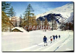 Postcard Old Sun and Snow skiing slopes