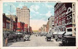 Chattanooga Tennesee Market Street Antique Postcard J79508