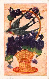 Bird and Flowers in a Vase  Postcard 1909