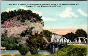 1947 Missouri ROUTE 66 Linen Postcard High Bluffs Gasconade & Rubidoux Rivers