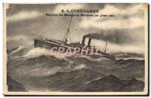 Old Postcard Boat Ship SS Cordillera Messageries Maritimes in heavy seas