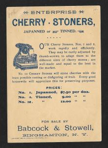 VICTORIAN TRADE CARD Enterprise Cherry Stoner Historical