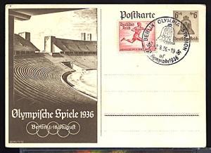 Summer Olympic Games Berlin 1936 Official 6+4 pf Semi Postal Card