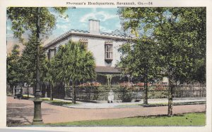 SAVANNAH, Georgia, 1900-1910's; Sherman's Headquarters