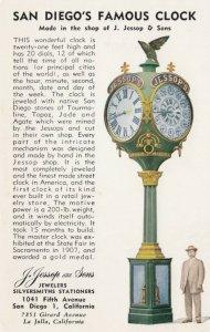 SAN DIEGO, California, 1900-10s; Famous Clock