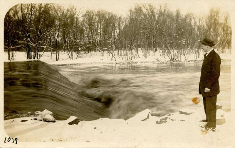 Canada - Ontario, Thunder Bay Area. Yaro at the mill dam on the English River...