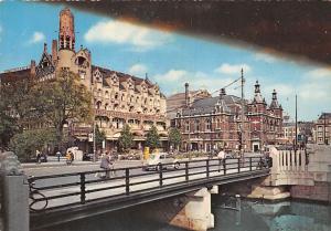 Netherlands Amsterdam Leidseplein Bridge Cyclists Vintage Cars