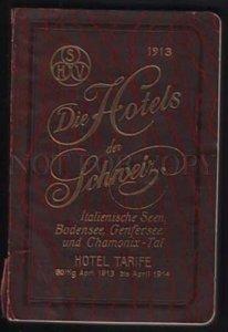 099478 1914 Hotels der Schveiz Tourists Book w/ MAP & photos