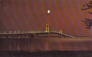 Michigan Peninsulas The Mackinac Bridge At Night