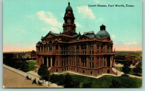 Fort Worth Texas~Tarrant County Court House~Red Granite~No Addition~Stores~1910