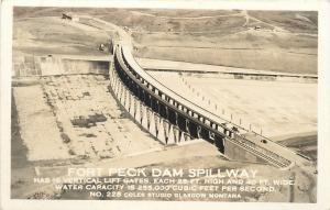Glasgow Montana~Fort Peck Dam Spillway~Birdseye~1930s Real Photo~RPPC