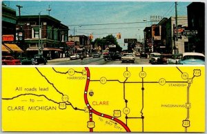 Clare, Michigan Postcard Downtown Street Scene / Highway Map 1960s Chrome Unused