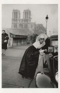 France French Paris Nervous Nun Boarding Taxi Car in 1953 Postcard