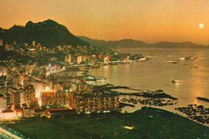 Vintage Postcard Evening in Hong Kong Central & Eastern District China