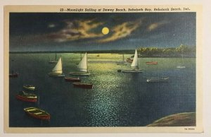 Moonlight Sailing at Dewey Beach Rehoboth Bay Beach Delaware Postcard Sailboats