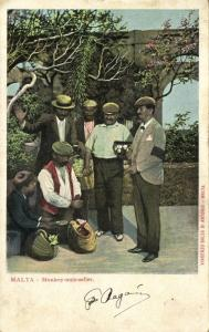 malta, Group of Monkey Nuts Sellers, Man in Mourning (1899)