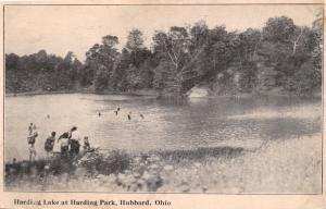 HUBBARD OHIO SWIMMING~HARDING LAKE~HARDING PARK~REAL ESTATE ADVERTISING POSTCARD