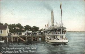 Peaks Island ME Steamer at Landing c1910 Postcard