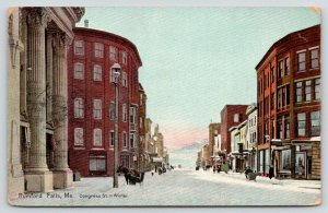 Rumford Falls Maine~Congress Street in Winter~Snow~Horse-Drawn Sleigh~1912