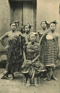 indonesia, BALI, Group of Highborn Balinese People (1910s) Postcard