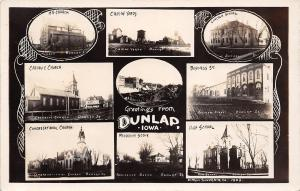 Dunlap Iowa~9 Multi Mini View~C&NW Railroad Yards~Downtown~School~1909 RPPC