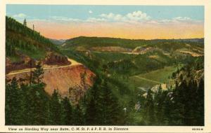 MT - Butte. Harding Way, C.M. St. P. & P. Railroad in Distance