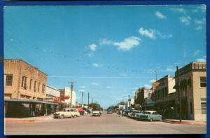 Refugio Texas tx street scene view cars chrome old postcard