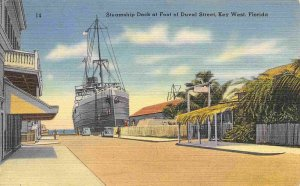 Steamship Dock Foot of Duval Street Key West Florida 1949 linen postcard