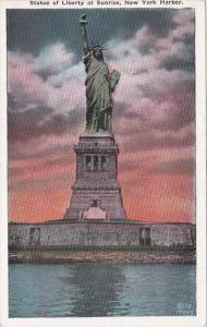 New York City Statue Of Liberty At Sunrise