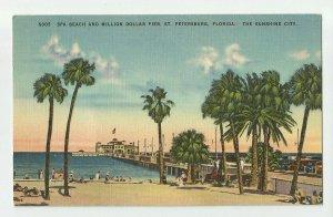 Linen Postcard ~ St Pete Petersburg Fl ~  Spa Beach & Million Dollar Pier